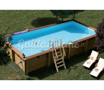 Piscina rettangolare fuori terra in legno for Offerte piscine fuori terra
